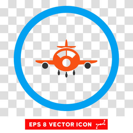 Rounded Aircraft EPS vector icon. Illustration style is flat icon symbol inside a blue circle. Illustration