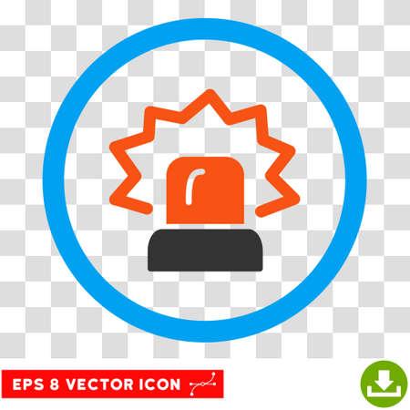 Rounded Alarm EPS vector icon. Illustration style is flat icon symbol inside a blue circle.