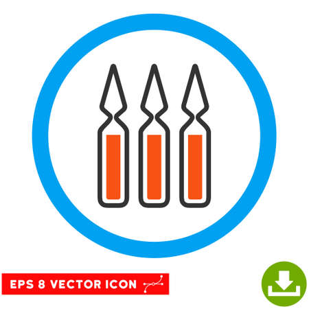 penicillin: Rounded Ampoules EPS vector icon. Illustration style is flat icon symbol inside a blue circle.