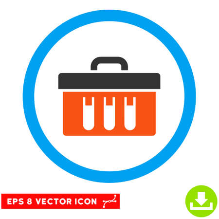 eps vector icon: Rounded Analysis Box EPS vector icon. Illustration style is flat icon symbol inside a blue circle.