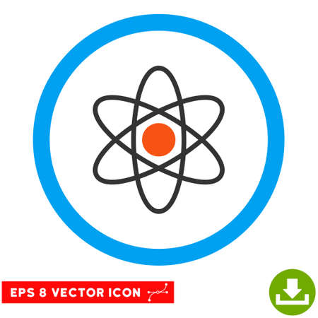 fission: Rounded Atom EPS vector pictogram. Illustration style is flat icon symbol inside a blue circle.