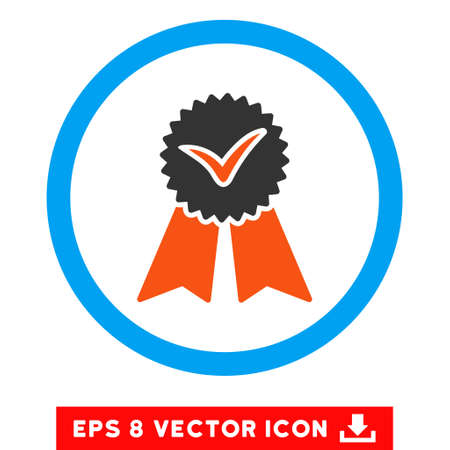 confirm: Rounded Approvement Seal EPS vector pictograph. Illustration style is flat icon symbol inside a blue circle. Illustration