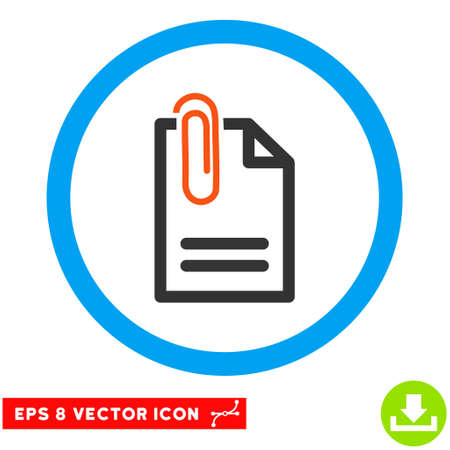 attach: Rounded Attach Document EPS vector pictogram. Illustration style is flat icon symbol inside a blue circle.