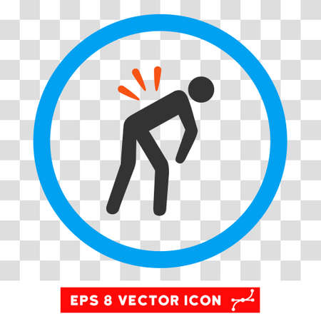 backache: Rounded Backache EPS vector icon. Illustration style is flat icon symbol inside a blue circle.