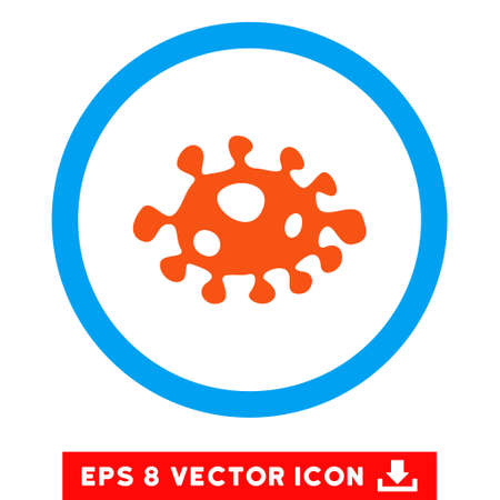 ameba: Rounded Bacteria EPS vector icon. Illustration style is flat icon symbol inside a blue circle.