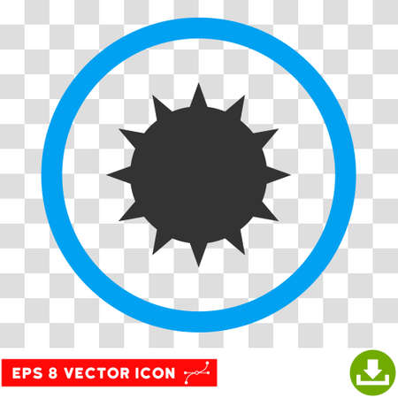 ameba: Rounded Bacterium EPS vector pictograph. Illustration style is flat icon symbol inside a blue circle.