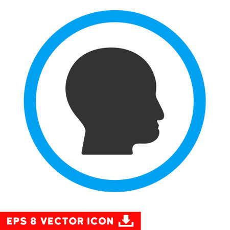 bald head: Rounded Bald Head EPS vector pictogram. Illustration style is flat icon symbol inside a blue circle. Illustration