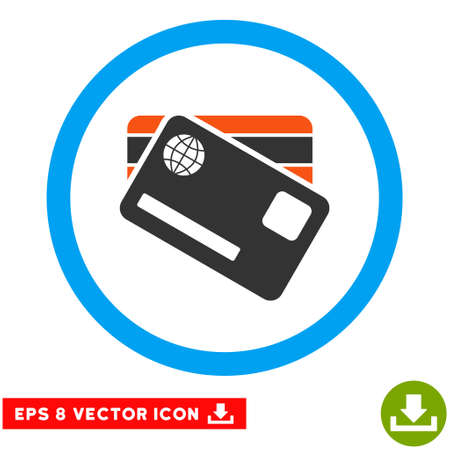 eps vector icon: Rounded Banking Cards EPS vector icon. Illustration style is flat icon symbol inside a blue circle.