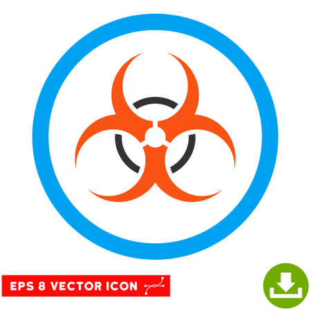 biological hazards: Rounded Bio Hazard EPS vector pictograph. Illustration style is flat icon symbol inside a blue circle.