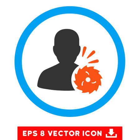 Rounded Body Execution EPS vector icon. Illustration style is flat icon symbol inside a blue circle.