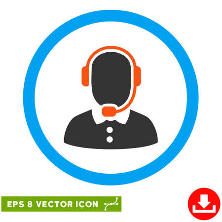 talker: Rounded Call Center Operator EPS vector icon. Illustration style is flat icon symbol inside a blue circle.