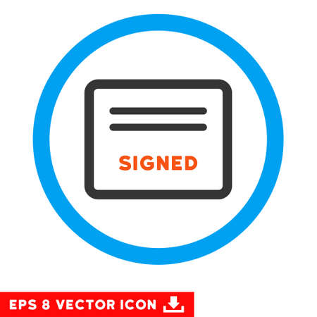 treaty: Rounded Signed Agreement Document EPS vector pictogram. Illustration style is flat icon symbol inside a blue circle. Illustration