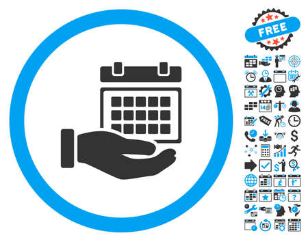 timetable: Service Timetable Hand pictograph with bonus calendar and time management symbols. Glyph illustration style is flat iconic bicolor symbols, blue and gray colors, white background. Stock Photo