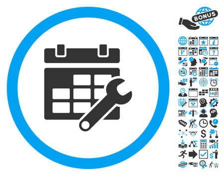 timetable: Timetable Options Wrench pictograph with bonus calendar and time management icon set. Glyph illustration style is flat iconic bicolor symbols, blue and gray colors, white background.