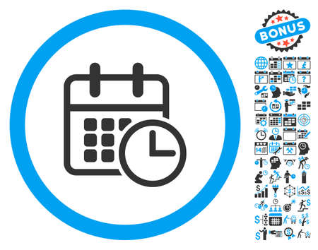 timetable: Timetable pictograph with bonus calendar and time management images. Glyph illustration style is flat iconic bicolor symbols, blue and gray colors, white background. Stock Photo