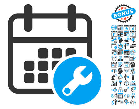 Calendar Setup pictograph with bonus calendar and time management graphic icons. Glyph illustration style is flat iconic bicolor symbols, blue and gray colors, white background. Stock Photo