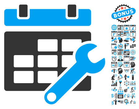timetable: Timetable Options pictograph with bonus calendar and time management images. Glyph illustration style is flat iconic bicolor symbols, blue and gray colors, white background. Stock Photo