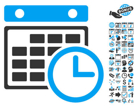 timetable: Timetable icon with bonus calendar and time management pictogram. Glyph illustration style is flat iconic bicolor symbols, blue and gray colors, white background. Stock Photo