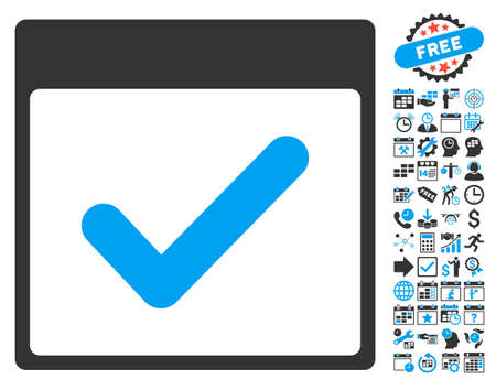 Approve Calendar Page icon with bonus calendar and time management design elements. Glyph illustration style is flat iconic bicolor symbols, blue and gray colors, white background.