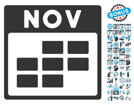 calendario noviembre: November Calendar Page icon with bonus calendar and time management symbols. Glyph illustration style is flat iconic bicolor symbols, blue and gray colors, white background. Foto de archivo