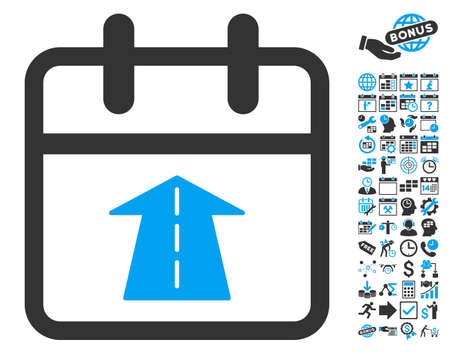 Future Day pictograph with bonus calendar and time management images. Glyph illustration style is flat iconic bicolor symbols, blue and gray colors, white background.