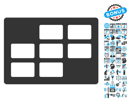 dataset: Calendar Table icon with bonus calendar and time management clip art. Glyph illustration style is flat iconic bicolor symbols, blue and gray colors, white background.