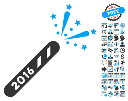 christmas bonus: 2016 Firecracker pictograph with bonus calendar and time management images. Glyph illustration style is flat iconic bicolor symbols, blue and gray colors, white background.
