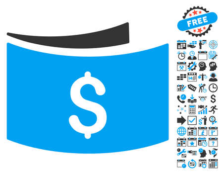 Banknotes icon with bonus calendar and time management pictures. Glyph illustration style is flat iconic bicolor symbols, blue and gray colors, white background.