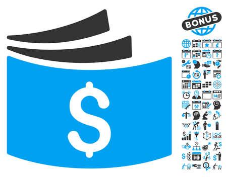 chequera: icono del talonario de cheques con el calendario de la prima y la recogida de gestión pictograma tiempo. estilo de ilustración glifo es plana símbolos icónicos bicolor, colores azul y gris, fondo blanco.