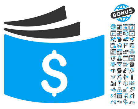 Checkbook icon with bonus calendar and time management pictograph collection. Glyph illustration style is flat iconic bicolor symbols, blue and gray colors, white background.