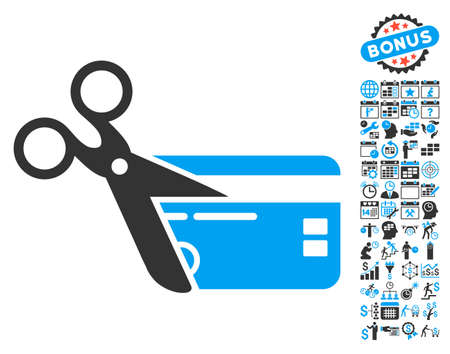 Cut Credit Card pictograph with bonus calendar and time management symbols. Glyph illustration style is flat iconic bicolor symbols, blue and gray colors, white background. Stock Photo