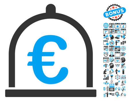 Euro Storage icon with bonus calendar and time management pictograph collection. Glyph illustration style is flat iconic bicolor symbols, blue and gray colors, white background. Stock Photo