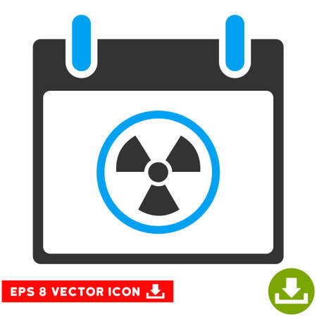 atomic symbol: Atomic Calendar Day icon. Vector EPS illustration style is flat iconic bicolor symbol, blue and gray colors.