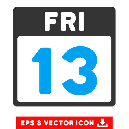 friday 13th: 13 Friday Calendar Page icon. Vector EPS illustration style is flat iconic bicolor symbol, blue and gray colors.
