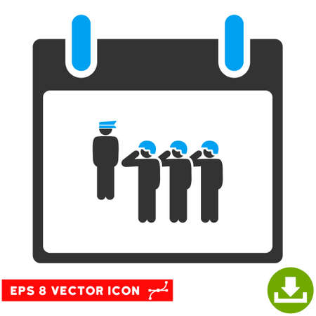 corps: Army Squad Calendar Day icon. Vector EPS illustration style is flat iconic bicolor symbol, blue and gray colors. Illustration