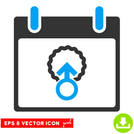 penetracion: Cell Penetration Calendar Day icon. Vector EPS illustration style is flat iconic bicolor symbol, blue and gray colors.