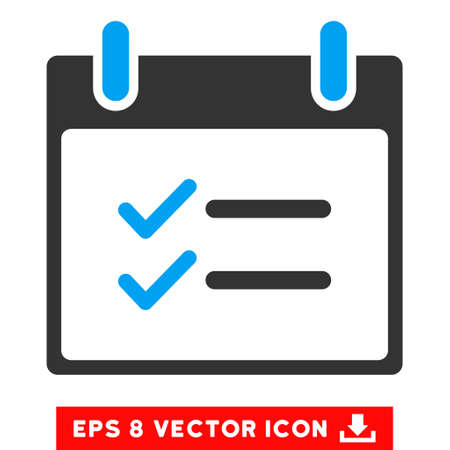 numerate: Check Items Calendar Day icon. Vector EPS illustration style is flat iconic bicolor symbol, blue and gray colors. Illustration