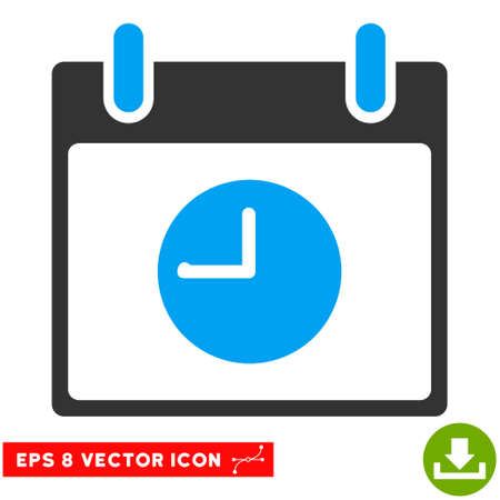 clockface: Clock Calendar Day icon. Vector EPS illustration style is flat iconic bicolor symbol, blue and gray colors. Illustration
