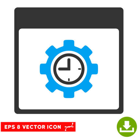 configuration: Clock Configuration Gear Calendar Page icon. Vector EPS illustration style is flat iconic bicolor symbol, blue and gray colors.