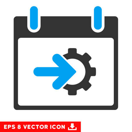 schedule system: Cog Integration Calendar Day icon. Vector EPS illustration style is flat iconic bicolor symbol, blue and gray colors. Illustration