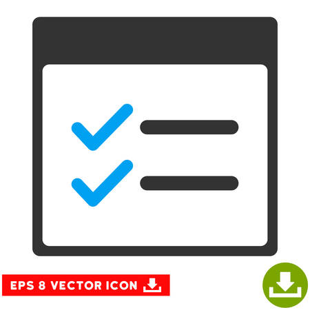 nomenclature: Done Items Calendar Page icon. Vector EPS illustration style is flat iconic bicolor symbol, blue and gray colors.