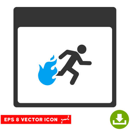 escape plan: Fire Evacuation Man Calendar Page icon. Vector EPS illustration style is flat iconic bicolor symbol, blue and gray colors. Illustration