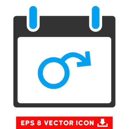 testiculos: La impotencia Calendario del icono del día. Vectoriales EPS estilo de ilustración es plana símbolo icónico bicolor, azul y gris.