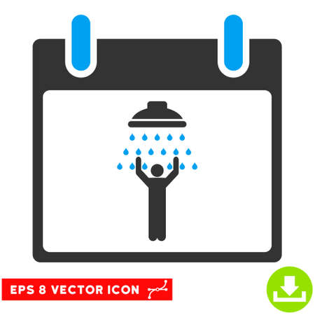 man shower: Man Shower Calendar Day icon. Vector EPS illustration style is flat iconic bicolor symbol, blue and gray colors. Illustration