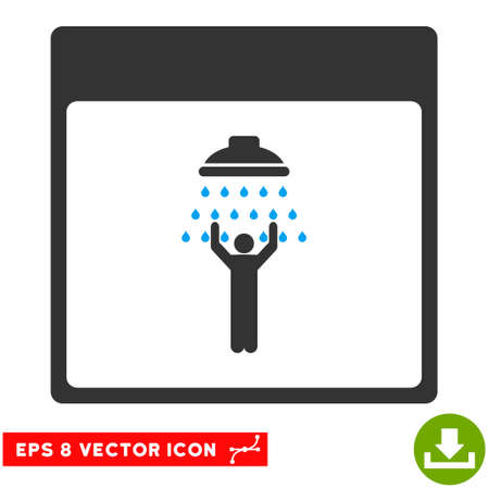man shower: Man Shower Calendar Page icon. Vector EPS illustration style is flat iconic bicolor symbol, blue and gray colors.