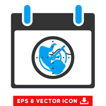 blip: Radar Calendar Day icon. Vector EPS illustration style is flat iconic bicolor symbol, blue and gray colors. Illustration
