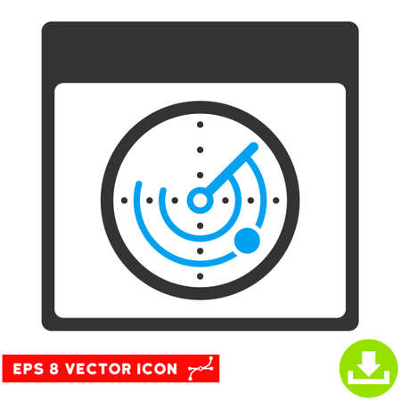 Radar Calendar Page icon. Vector EPS illustration style is flat iconic bicolor symbol, blue and gray colors. Illustration