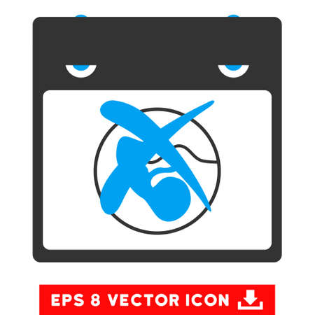 reject: Reject Calendar Page icon. Vector EPS illustration style is flat iconic bicolor symbol, blue and gray colors.