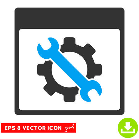 configure: Settings Tools Calendar Page icon. Vector EPS illustration style is flat iconic bicolor symbol, blue and gray colors. Illustration