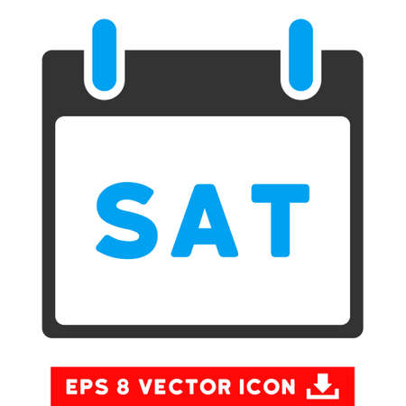 saturday: Saturday Calendar Page icon. Vector EPS illustration style is flat iconic bicolor symbol, blue and gray colors.